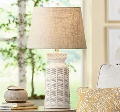 White ceramic table lamp with intricate basket weave design. Cool Lamps, Unique Lamps, Farmhouse Lamps, Contemporary Table Lamps, Design Poster, Bedroom Lamps, Master Bedroom, Ceramic Table Lamps, Light Table
