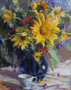 Sunflower Arrangment by Lange Marshall Oil ~ 20 Inches x 16 Inches