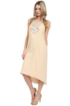 Love Sam Gauze Beaded Halter Maxi Dress in Tea Stain