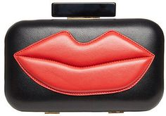 Lips Pucker Up Bucket Tote w//Genuine Leather Trim Large w//Front Design