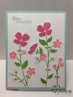 Wildflower Meadow stamp and embossing folder . pretty bright colors fill the card face . Stampin' Up! Wild Flower Meadow, Wild Flowers, Control Freaks, Embossed Cards, Embossed Paper, Thanks Card, Wedding Card Templates, Wedding Cards, Handmade Greetings