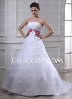 Wedding Dresses - $184.99 - Empire Strapless Chapel Train Organza Satin Lace Wedding Dress With Sashes Crystal Brooch (002000129) http://jjshouse.com/Empire-Strapless-Chapel-Train-Organza-Satin-Lace-Wedding-Dress-With-Sashes-Crystal-Brooch-002000129-g129