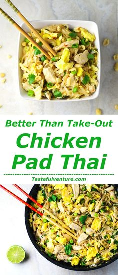 This Chicken Pad Thai is way better than Take-Out, and so simple to make! | http://Tastefulventure.com