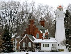Port Sanilac #Lighthouse In Winter - Lake Huron, #Michigan  -  http://dennisharper.lnf.com/