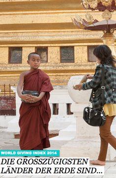Überraschung! Neben den USA, dessen ausgeprägte Charity-Kultur allein schon für einen Siegerplatz im Ranking der großzügigsten Länder sorgen dürfte, ist Myanmar das geberfreundlichste Land der Erde. Lesen Sie hier weiter: http://www.travelbook.de/welt/World-Giving-Index-2014-Die-grosszuegigsten-Laender-der-Erde-570001.html
