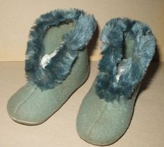 Vintage 1930s Blue Chinelle and Wool Vintage Children Bedroom Slippers