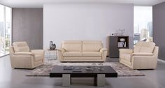 Genuine Italian leather beige three piece sofa set. This elegant living room set adds an instant feeling of wealth and comfort to any room. Only the finest genuine Italian leather was used in creation of this top seller. The new sofa set will redefine your living space and create a relaxed, informal...