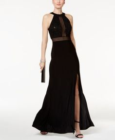 Nightway Petite Glitter-Lace Empire-Waist Gown