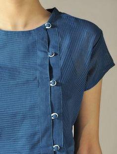 Blue Angrakha Top with Panels Salwar Neck Designs, Churidar Designs, Kurta Neck Design, Neckline Designs, Kurta Designs Women, Dress Neck Designs, Blouse Designs, Salwar Pattern, Kurta Patterns
