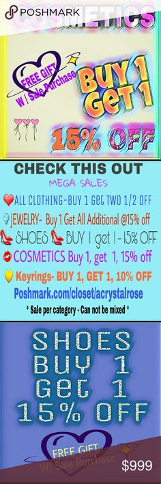 ?? 15% off COSMETICS.        ?? BOGO COSMETICS  BUY 1. GET 1.  15% OFF!!   BUY 1 - Get TWO  50% OFF   ?? Clarification 1st purchases at regular price (Buy 1) discounts come off the lesser priced items.    ?? COSMETICS SALE is based on items in TWO-  Buy 1 / Get 1 MULTIPLE SETS OF TWO ARE BEST VALUE   ?? Categories cannot be mixed for the sales BOGO  ?? Bundling is not an option ?? EXCLUDES SKIN CARE ??  LOOK IN MY CLOSET FOR OTHER SALES ?? Makeup