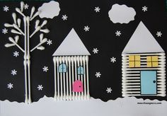 Paesaggio innevato con i cotton fioc www. Winter Crafts For Kids, Winter Kids, Winter Art, Diy For Kids, Kids Crafts, Diy And Crafts, Arts And Crafts, Paper Crafts, Preschool Christmas