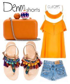 """Sunny Orange Summer"" by alexia-bahar-karabenli ❤ liked on Polyvore featuring Sam Edelman, River Island, Kenneth Jay Lane, Elina Linardaki, jeanshorts, denimshorts and cutoffs"