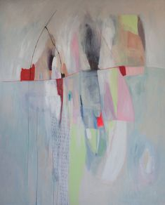 Large abstract painting, blue, green, red, pink, modern art