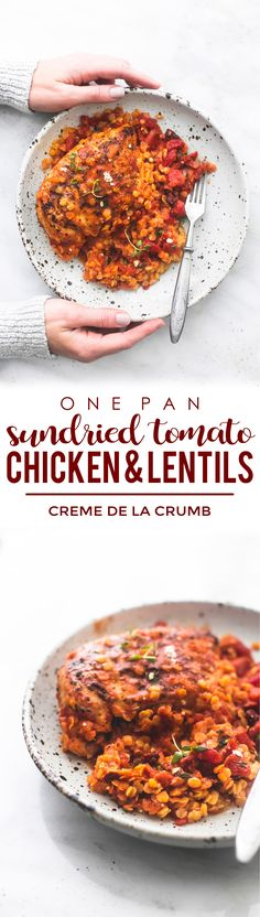 One Pan Greek Sun Dried Tomato Chicken and Lentils - Easy healthy One Pan Greek Sun Dried Tomato Chicken and Lentils recipe made with Slow Cooker Recipes, Crockpot Recipes, Chicken Recipes, Cooking Recipes, Clean Recipes, Healthy Recipes, Savoury Recipes, Healthy Foods, Easy Recipes