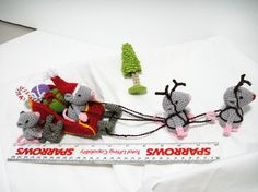 Handmade Ornamental Christmas Santa and Reindeer by MissJennies