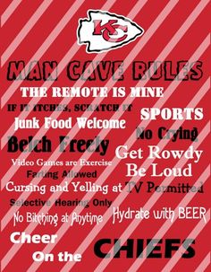 Kansas City Chiefs Man Cave Rules Wall Sign Printable Digital File