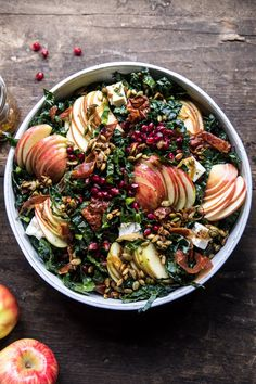 Fall Harvest Honeycrisp Apple and Kale Salad. Fall Harvest Honeycrisp Apple and Kale Salad. All the best produce that fall has to offer combined Thanksgiving Salad, Thanksgiving Sides, Honeycrisp Apples, Half Baked Harvest, Easy Salads, Soup And Salad, Pasta Salad, Shrimp Salad, Macaroni Salad
