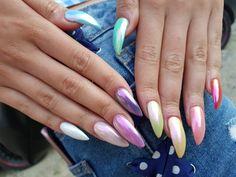 #chromenails #rainbow #almondnails #rainbownails Rainbow Nails, Chrome Nails, Almond Nails, Beauty, Beauty Illustration