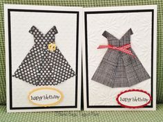 """So in the spirit of """"little black dresses"""", I pulled out the origami dress tutorial from HERE and made a pile of """"little black dresses"""" for some cards."""