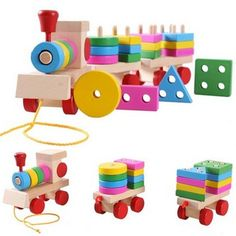 Wooden Train Puzzles Toys Stacking Shape Geometry Train Set Combination Kids Educational Toys Whole