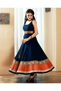 Gopinath Collection Navy Blue and Orange Border Embroidered Semi Stitched Silk Ethnic Gown Indian Gowns, Indian Attire, Indian Sarees, Indian Wear, Indian Style, Pakistani Outfits, Indian Outfits, Indian Clothes, India Fashion
