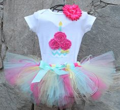 RAINBOW SORBET Set--Birthday Girl Cupcake Bodysuit and Tutu Skirt Set with Free Flower Clip, Newborn,1st, 2nd, 3rd, 4th, 5th Birthday