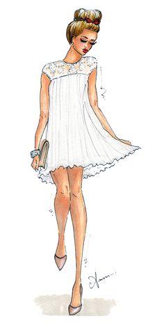 A lovely white dress! Foto Fashion, Fashion Art, Girl Fashion, Fashion Dresses, Classy Fashion, Fashion Shoes, Drawing Fashion, Paper Fashion, Fashion Black