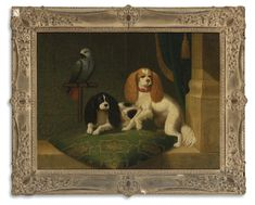 Collection of Brooke Astor -  English School, 18th/19th Century TWO KING CHARLES SPANIELS AND A PARROT -  oil on canvas 25 by 32 3/4 in. 63.5 by 83.2 cm