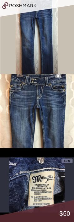 Miss Me Jeans JP4906-4 Sz. 27 bootcut embellished Dark jeans, Whiskering, bootcut, see pics for measurements Miss Me Jeans Boot Cut