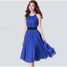 Summer Maxi Long Chiffon Bohemian Dress Woman Elegant Sundresses Vestidos Casual Halter Belt Dresses 63