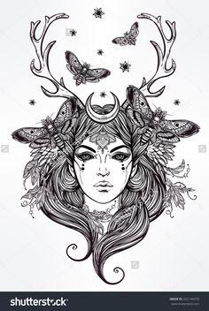 Hand drawn beautiful artwork of Banshee portriat - a female spirit in Irish mythology. Alchemy, religion, spirituality, occultism, tattoo art, coloring books. Isolated vector illustration.