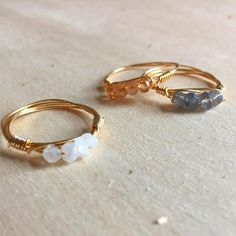 Stackable gemstone rings, gemstone rings, gold gemstone rings, rose gold gemstone ring, wire wrap rings by RowAndOaks on Etsy Mom Jewelry, Hand Jewelry, Copper Jewelry, Cute Jewelry, Crystal Jewelry, Beaded Jewelry, Jewelery, Unique Jewelry, Wire Jewelry Designs