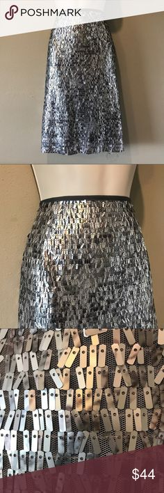 Chicos Silver Sequin skirt, 16 (Chico's 3) In excellent preowned condition – beautiful Chicos silver sequined skirt-perfect to finish off a special occasion out for you. Size is Chicos 3 or 16 Chico's Skirts A-Line or Full