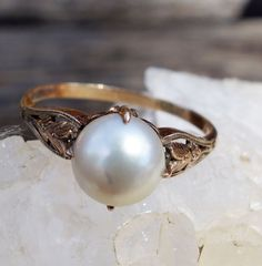 Antique Victorian Rose Gold 14K Ring with Huge Pearl in Cathedral Setting, Size 10, 1870s