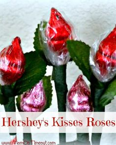 Hershey's Kiss Roses are a simple and sweet craft to make for Valentine's Day, Weddings, Anniversaries and more!