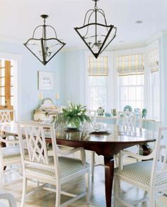 Shades, blue walls…. Home Tour: A Summer Place in Cape Cod