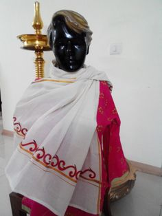 Stole ...  Hand painted On traditional kerala Mundu Ideal to be teamed with tops and tunics. Ethnic, yet modern http://www.facebook.com/Happyhandpicker