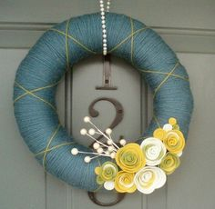 Yarn Wreath Felt Handmade Door Decoration Cornflower by ItzFitz Felt Wreath, Wreath Crafts, Diy Wreath, Door Wreaths, Burlap Wreath, Diy Crafts, Yarn Wreaths, Wreath Ideas, Christmas Door Decorations