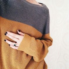 grey + mustard||The sweater is cute, but honestly i love her ring more