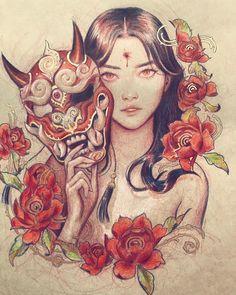 👩🗡🏹 Artwork b – Geisha Tattoos, Geisha Tattoo Design, Japanese Tattoo Designs, Japanese Tattoo Art, Japanese Sleeve Tattoos, Geisha Kunst, Geisha Art, Geisha Drawing, Samurai Tattoo
