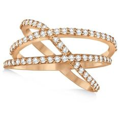 Allurez Three Band Intertwined Abstract Diamond Ring 14k Rose Gold... ($1,140) ❤ liked on Polyvore featuring jewelry, rings, pink, 14 karat diamond ring, pink diamond ring, rose diamond ring, rose ring and rose gold jewelry