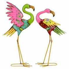 """Set of two metal flamingos with a floral motif.  Product: Small and large flamingo statueConstruction Material: MetalColor: Pink, green and yellowDimensions: Small: 28"""" H x 17"""" W x 7"""" DLarge: 32"""" H x 18"""" W x 8"""" D"""