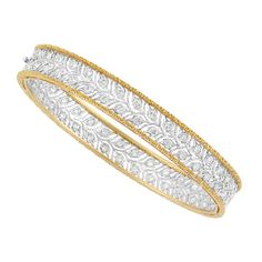Two-Color Gold and Diamond Bangle Bracelet, Buccellati