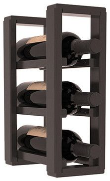 3 Bottle Counter Top/Pantry Wine Rack in Pine, Black Stain + Satin Finish - contemporary - Wine Racks - Wine Racks America Wood Wine Racks, Wine Rack Wall, Diy Wine Racks, Wooden Wine Holder, Bottle Rack, Wine Bottle Holders, Wine Rack Inspiration, Wine Racks America, Contemporary Wine Racks