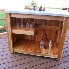 Check out this project on RYOBI Nation - This simple to build concrete outdoor bar with LED lights is constructed of 2x4 boards, fence pickets, and concrete. It's perfect for outdoor gatherings, barbecues, and parties. The first part of the project involves building the base for the concrete top. The second part involves building a mold for the concrete, creating knockouts, pouring concrete, and concrete finishing.