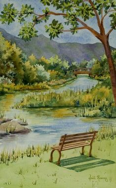 The River, Rogue River Oregon watercolor painting. Heidi Rosner watercolors feature European landscapes, floral, botanicals, still lifes. Watercolor Landscape Paintings, Landscape Drawings, Landscape Art, Bird Paintings, Watercolor Trees, Indian Paintings, Watercolor Portraits, Abstract Paintings, River Painting