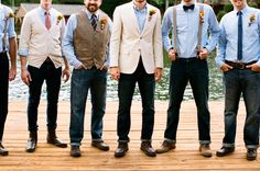 Southern Weddings - casual groomsmen - if bridesmaids have their own style/color gowns, groomsmen could choose from one of these looks, maybe with a shirt that matches the maid they walk with. Casual Groomsmen, Casual Wedding Attire, Groomsmen Looks, Bridesmaids And Groomsmen, Groom Attire, Mismatched Groomsmen, Groomsmen Vest, Groomsmen Outfits, Groom Suits