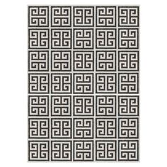 Modern Area Rugs | Black Greek Key Peruvian Llama Flat Weave Rug | Jonathan Adler $1800 for 6x9