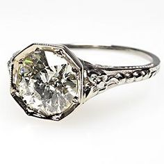 1930'S ART DECO ANTIQUE OLD EUROPEAN CUT DIAMOND ENGAGEMENT RING SOLID 18K WHITE GOLD--there's a lot of gorgeous rings on this website