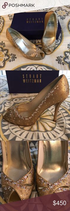 Swarovski embellished Stuart Weizman pumps Beautifully embellished Stuart Weizman peep toe pumps. Worn twice and in excellent condition! Stuart Weitzman Shoes Heels